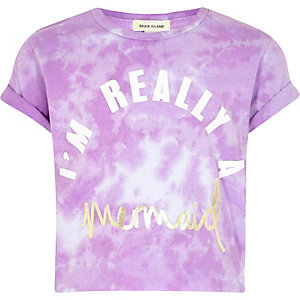 Girls purple 'mermaid' print tie dye T-shirt