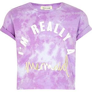 T-shirt imprimé mermaid effet tie-dye violet pour fille