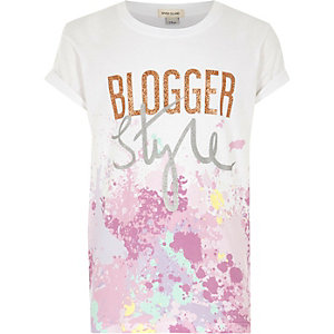 Girls white 'blogger style' paint T-shirt