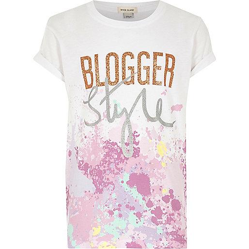 Girls white 'blogger style' paint T-shirt