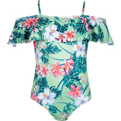 Groen zwempak in bardotstijl met tropische print voor meisjes