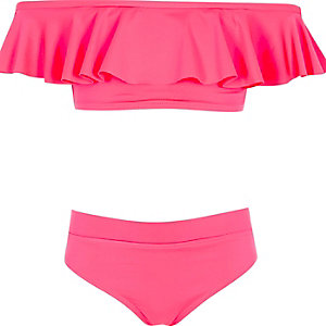 Roze bardotbikini met ruches voor meisjes