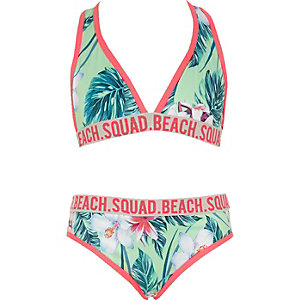 Girls green tropical triangle bikini set
