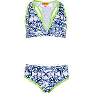 Girls blue aztec print triangle bikini set