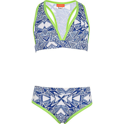 Girls blue aztec print triangle bikini set