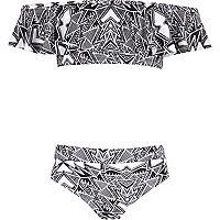 Girls black aztec bardot frill bikini