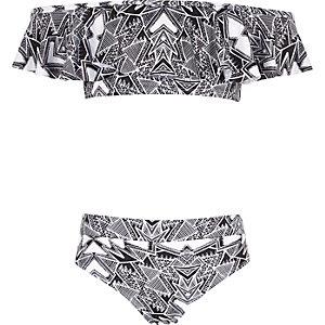 Girls black aztec bardot frill bikini set