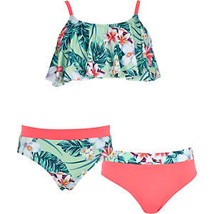 Girls green tropical print shelf bikini set