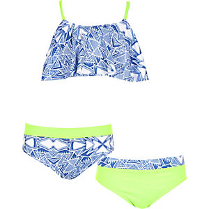 Girls blue aztec print shelf bikini set