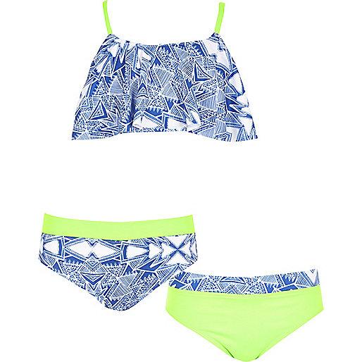 Girls blue aztec print shelf bikini set
