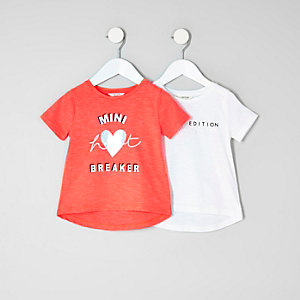 Mini girls red printed T-shirt multipack
