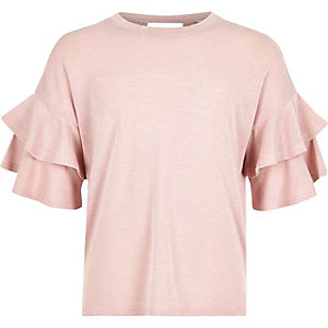 Girls pink double frill sleeve jumper