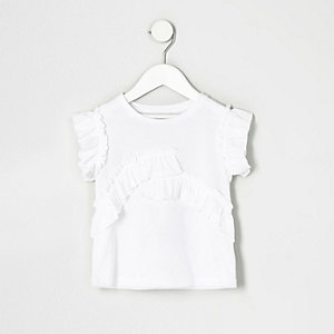 Mini girls white ruffle short sleeve top