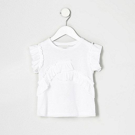 Mini girls white ruffle short sleeve top