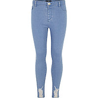 Girls mid blue wash distressed hem jeggings