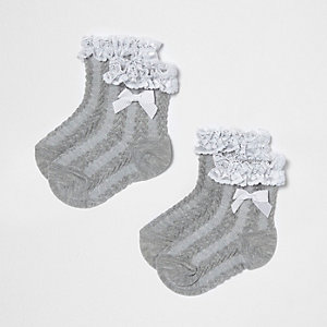 Mini girls grey frill bow socks multipack
