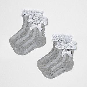 Mini - Multipack grijze sokken met ruches en strik voor meisjes
