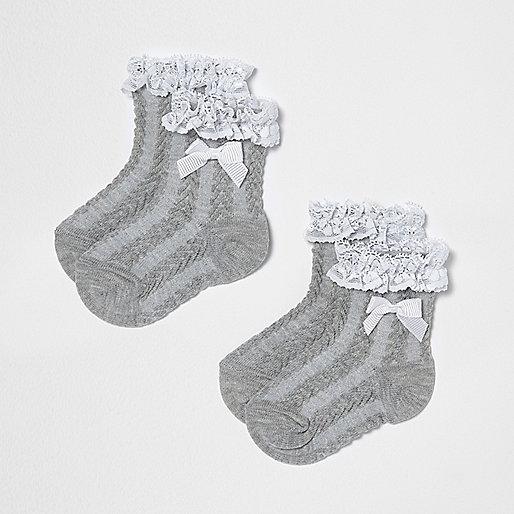 Mini girls grey frill bow socks multipack