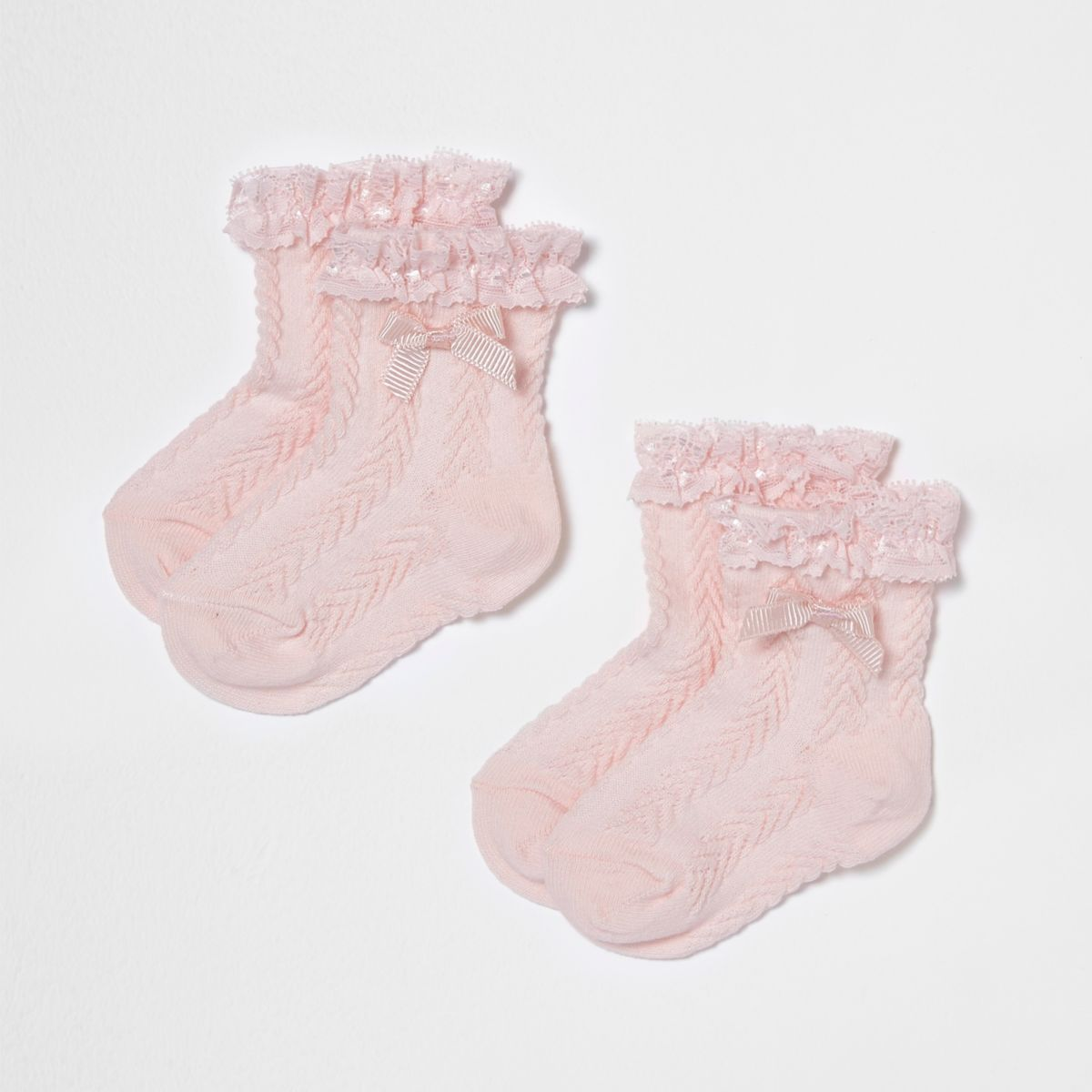 Mini girls pink frill bow socks multipack