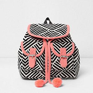 Zwart-wit gestreepte rugzak met roze biezen voor meisjes