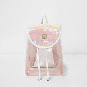 Girls pink sequin backpack