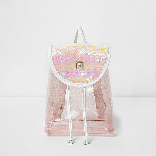Girls pink sequin backpack
