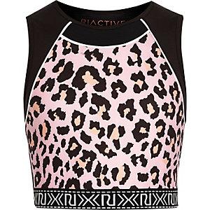RI Active - Zwarte crop top met luipaardprint voor meisjes