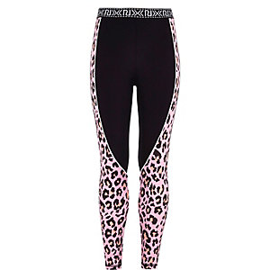 Girls RI Active black splice print leggings