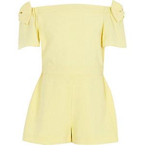 Combi-short Bardot jaune à nœud pour fille