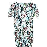 Girls blue tropical print bardot dress