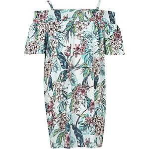 Girls blue tropical print bardot dress