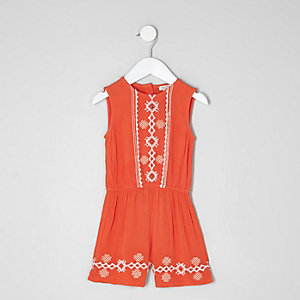 Mini girls orange embroidered playsuit