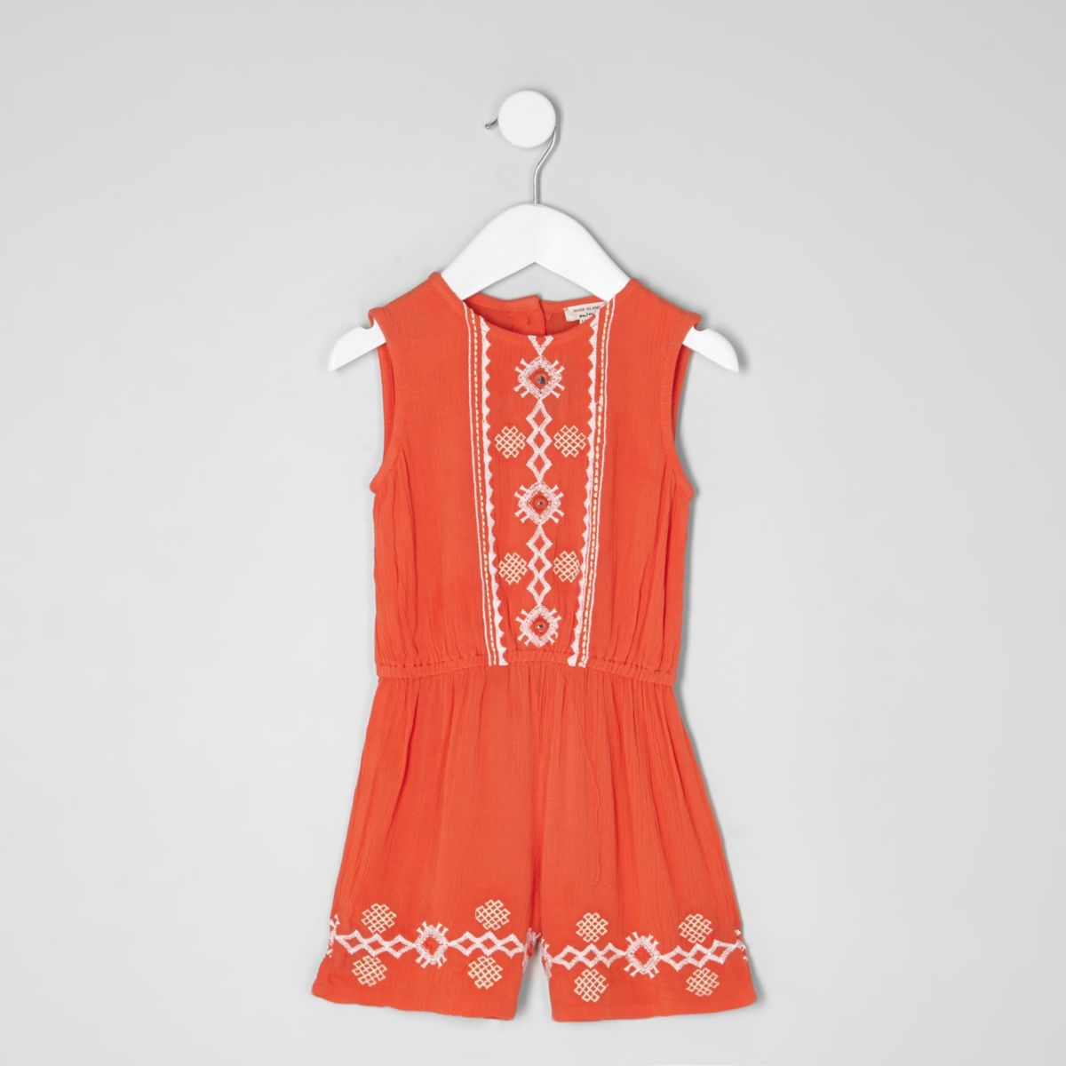 Mini girls orange embroidered romper
