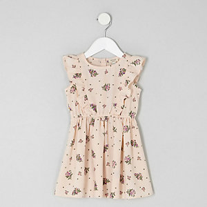 Mini girls pink ditsy frill dress