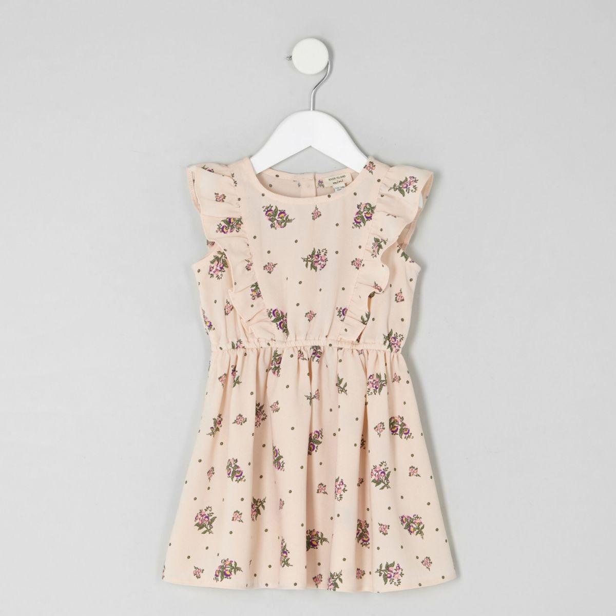 Mini girls pink ditsy frill dress