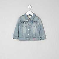 Mini girls blue wash embroidered denim jacket