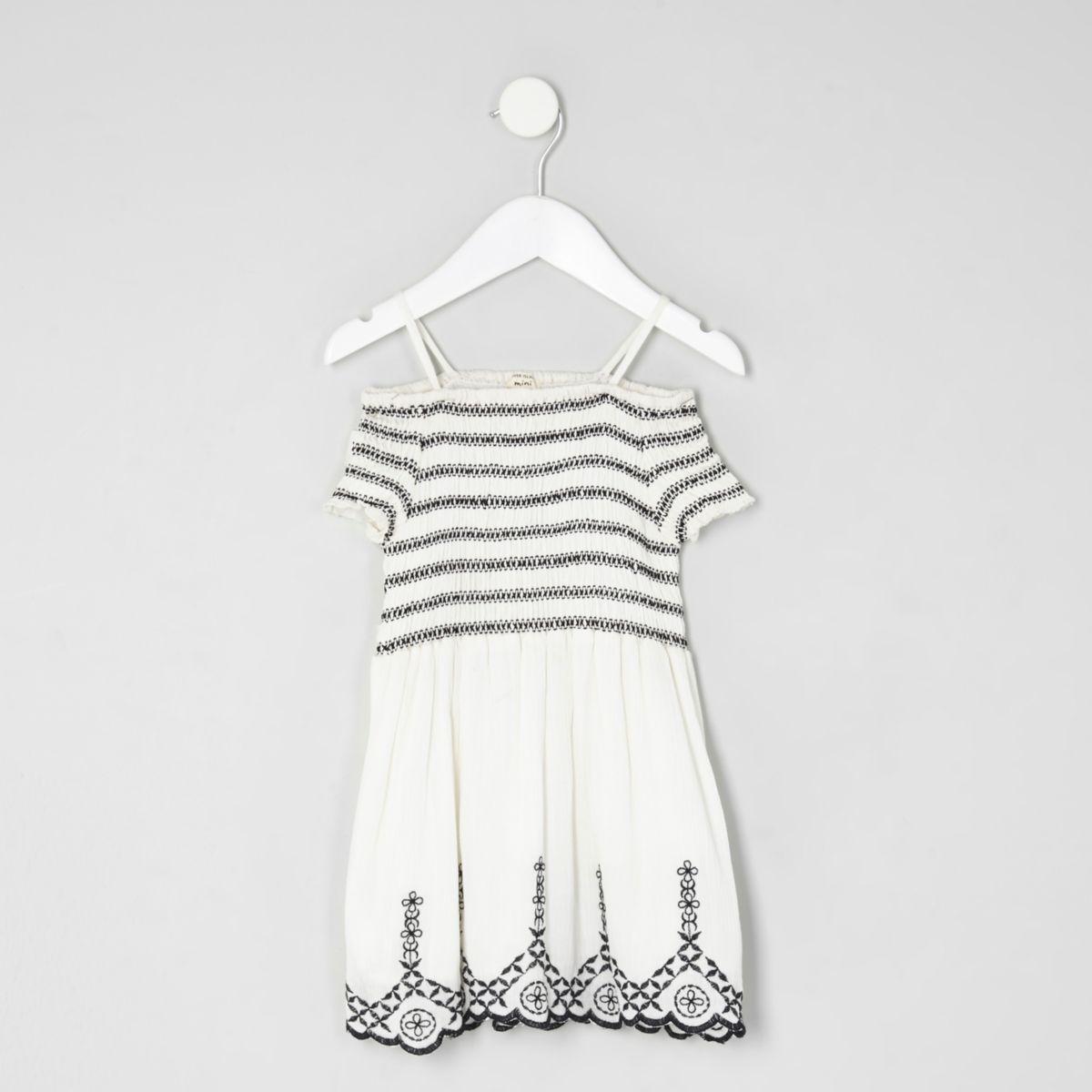 Mini girls white shirred dress