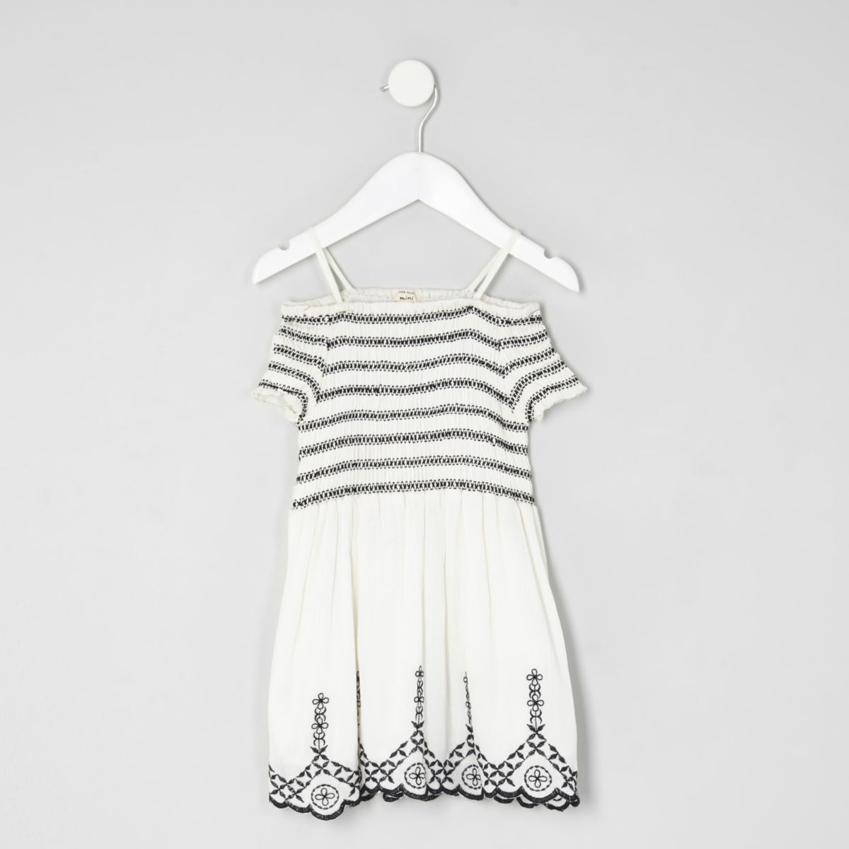 Mini girls white shirred dress