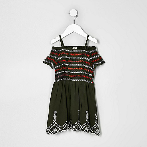 Mini girls khaki green shirred dress