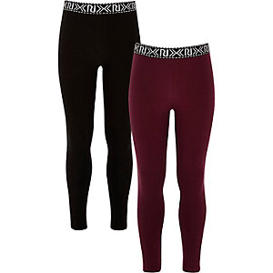Girls dark red and black leggings pack