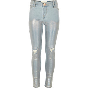 Girls light blue Molly ripped foil jeggings