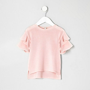 Mini girls light pink frill sleeve jumper