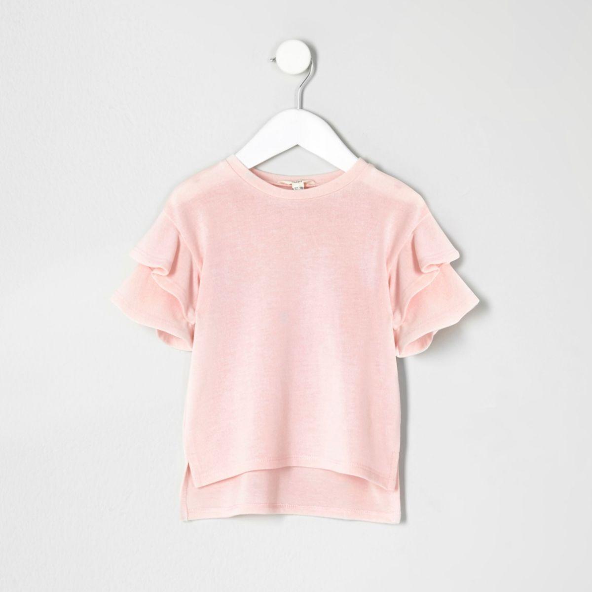 Mini girls light pink frill sleeve jumper