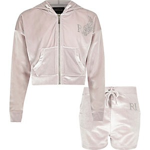 Girls grey velour hoodie and shorts outfit