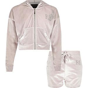 Grijze outfit met hoodie van velours en short voor meisjes