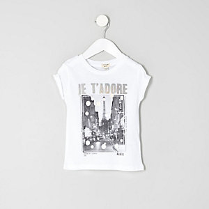 Mini girls white 'Je t'adore' print T-shirt