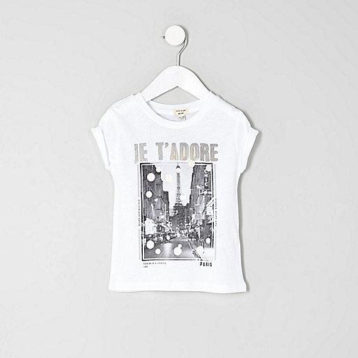 Mini girls white 'Je t'adore' print T-shirt