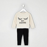 Mini girls cream daydreamer print outfit