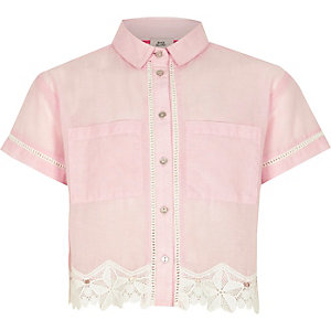 Girls light pink chambray lace cropped shirt