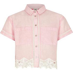 Girls light pink chambray lace cropped shirt